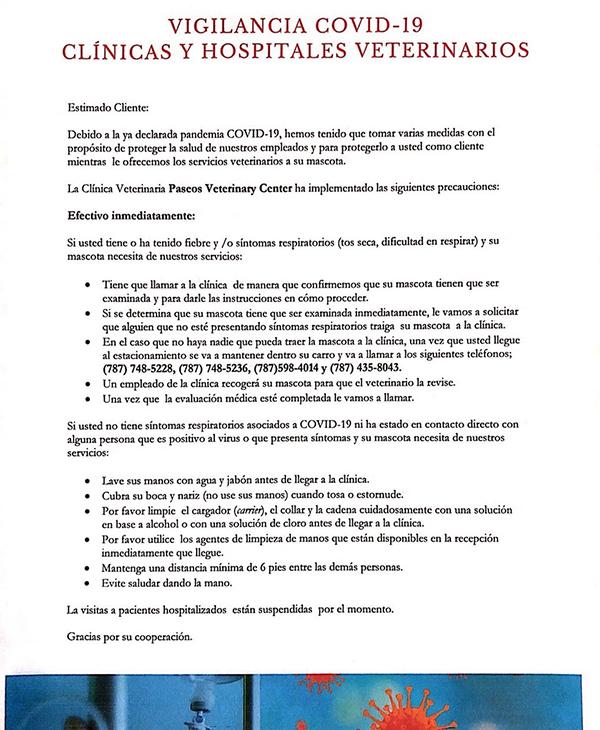 Vigilancia COVID-19 clinicas y hospitales veterinarios