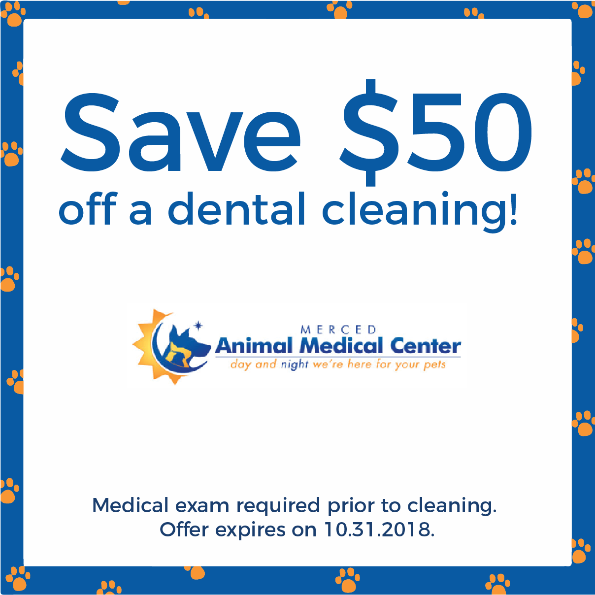 save 50 dollars off a dental cleaning. Medical exam required prior to cleaning. Offer expires October 31