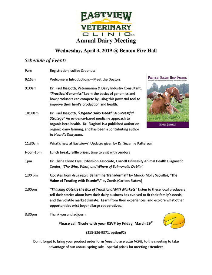 Annual Dairy Meeting Wednesday, April 3, 2019 at Benton Fire Hall
