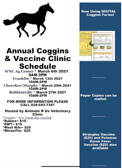 Annual Coggins & Vaccine Clinic, March 6-27th, please call for more information. 828-693-7387