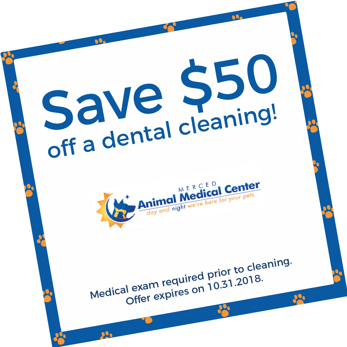 Save $50 off a dental cleaning! Medical exam required prior to cleaning. Offer expires on 10/31/18