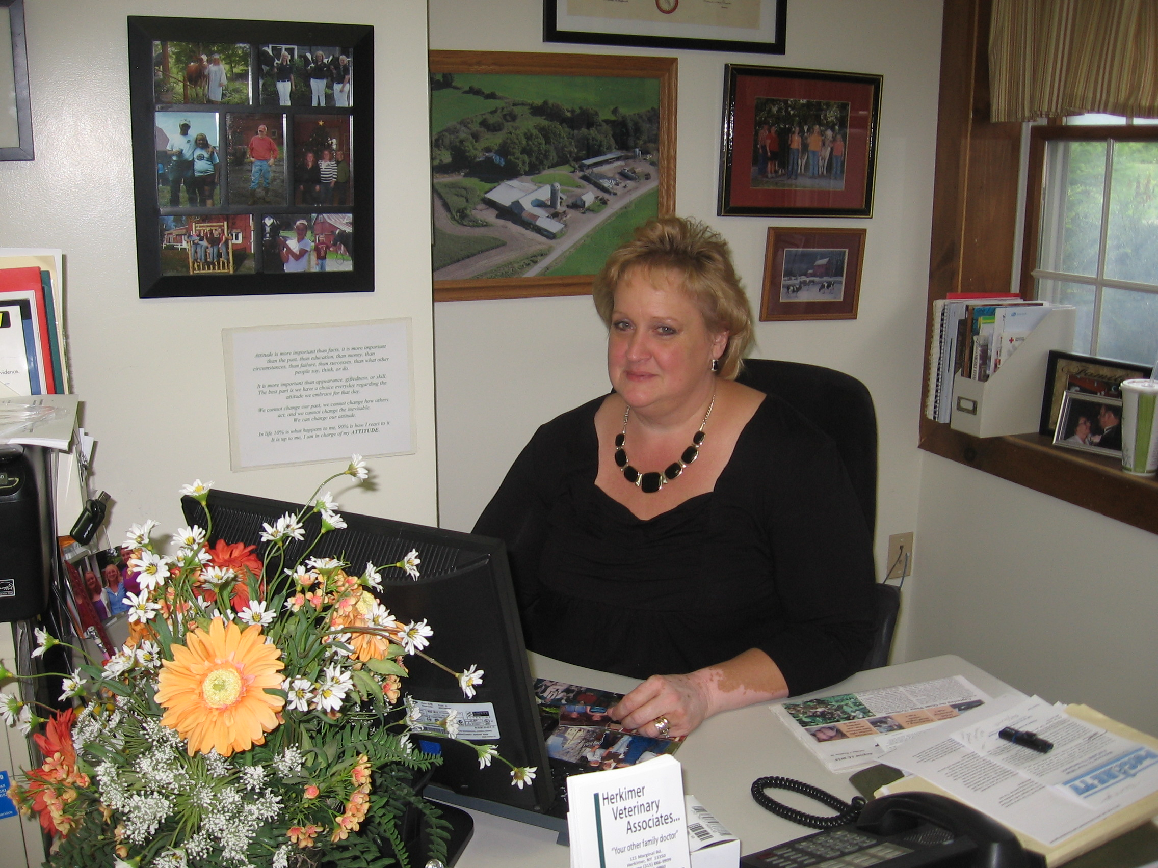 Christine at her desk