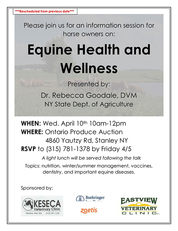 Equine Health and Wellness Wednesday April 10th 10am Ontario Produce Auction