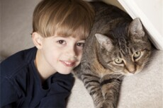 Child with dark colored cat