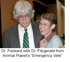 "Dr. Packard with Dr. Fitzgerald from Animal Planet's ""Emergency Vets"""