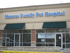 The outside of our veterinary hospital in Monroe, OH